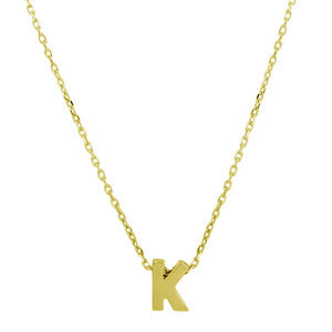 NWT Silver Gold Plated Small Letter K Necklace
